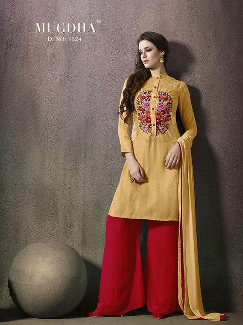 1124Mustard and Yellow Exclusive Fancy Designer Plazo Suit