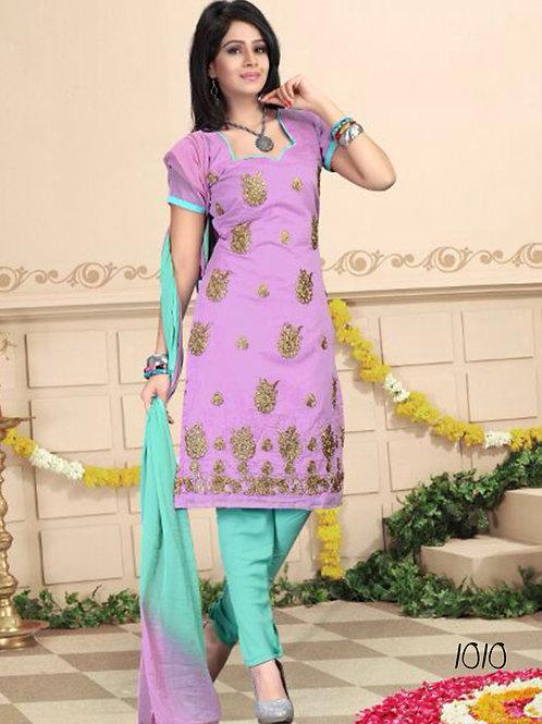 1010 Violet and Aqua Blue Daily Wear Chanderi Salwar Suit