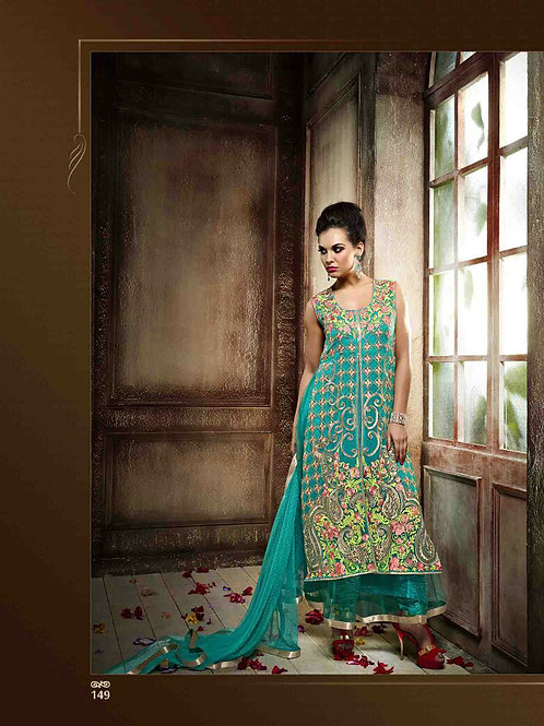 149SeaGreen Wedding Wear Embroidered Georgette and Net Designer Suit