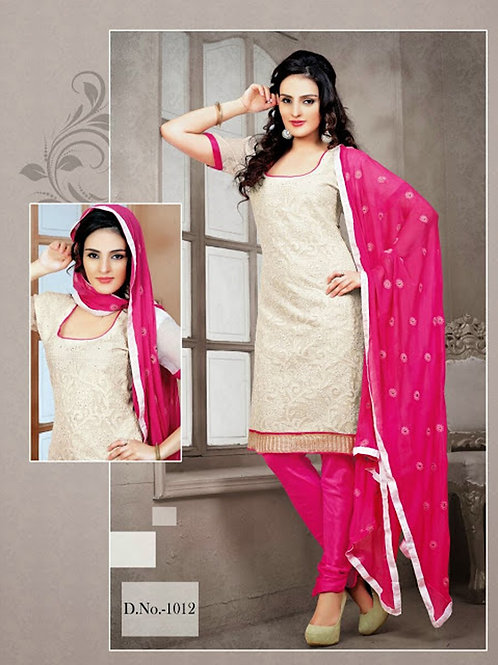1012 Ivory and Magenta Chudidar Suit