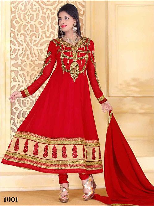 1001 Designer Red Georgette Anarkali Suit