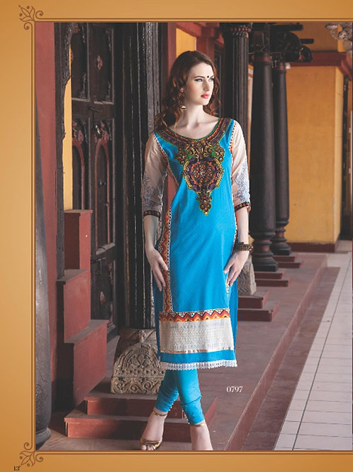 0797B Sky Blue and Ivory Cotton Jacquard Straight Suit