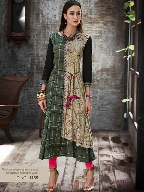 1156 Dark Green and Beige Designer Gown Style Stitched Kurti