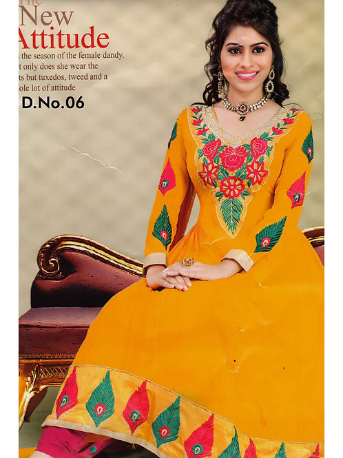 06Yellow and Red Georgette Anarkali Suit