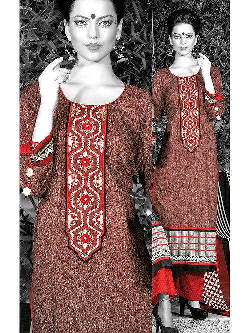 0947B Brown and Red Cotton Palazzo Suit