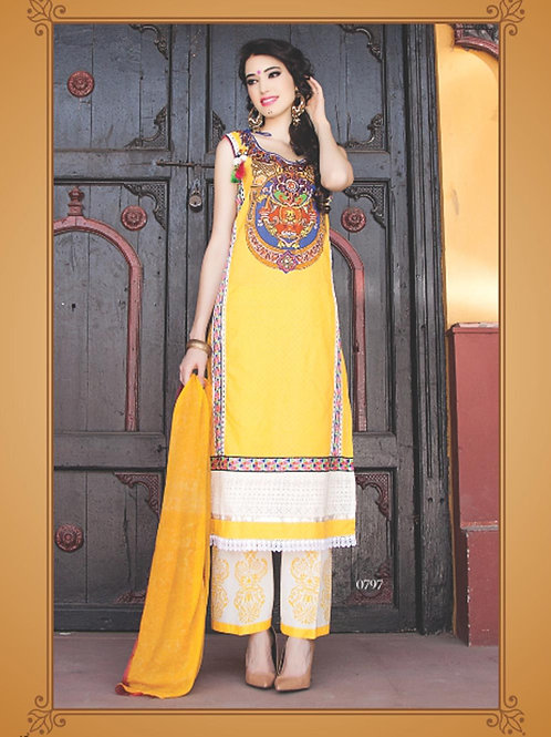 0797A Yellow and Ivory Cotton Jacquard Straight Suit