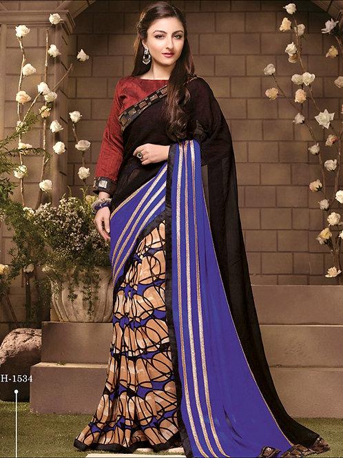 1534RoyalBlue Party Wear Designer Saree