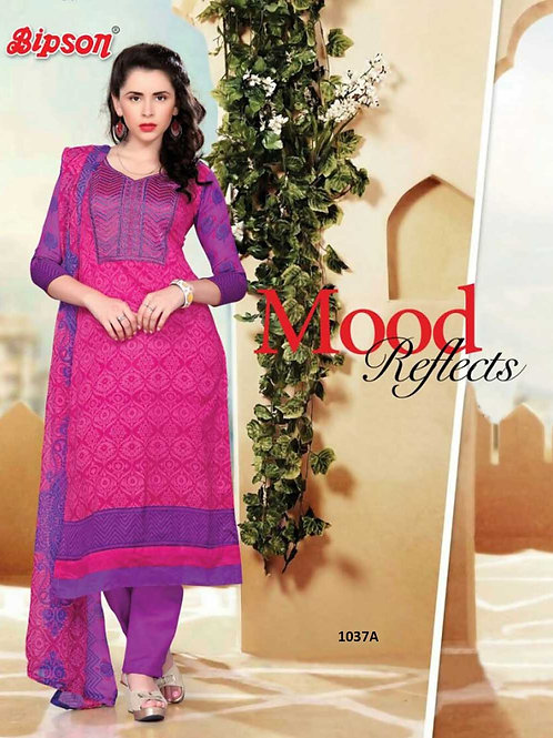 1037A Magenta Cotton Straight Suit