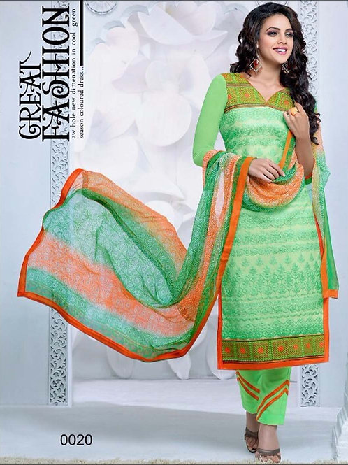 0020 Light Green and Orange Cambric Cotton Straight Suit