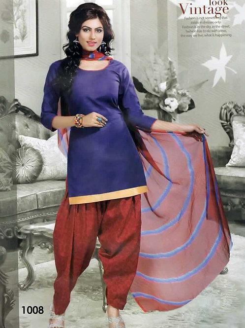1008 Indigo Colored Mix Cotton Patiala Suit