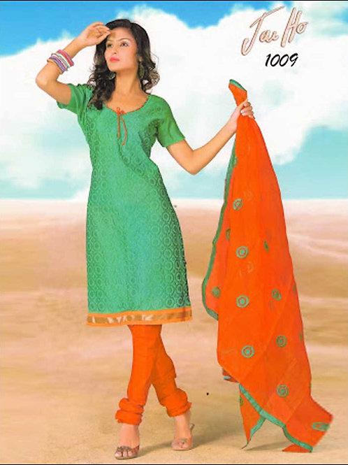 1009SeaGreen and OrangeRed Chanderi Chudidar Suit