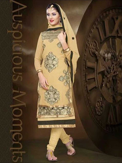 1009Burlywood and Black Straight Suit