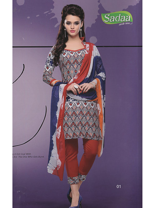 01 Red and White Cotton Chudidar Suit