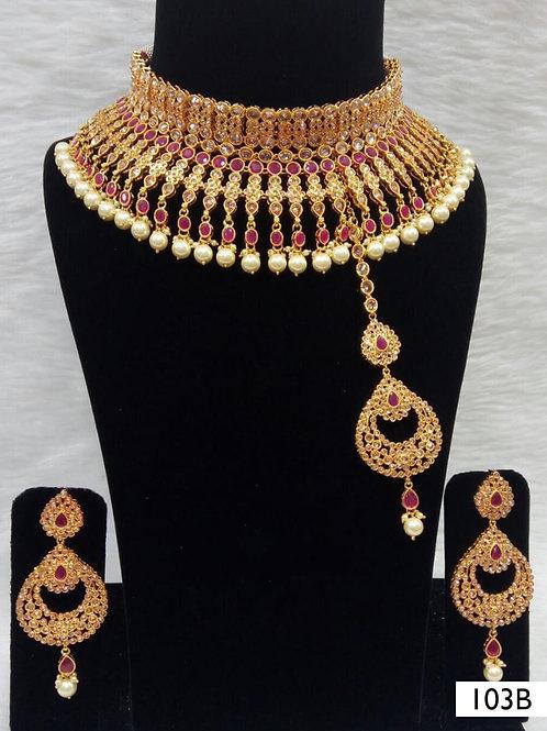 103B Maroon Bridal Wear Necklace Set With Maang Tika