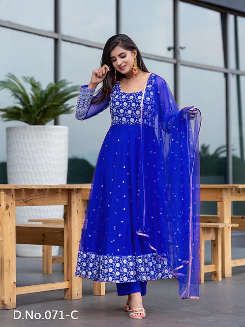 071C Designer Embroidered  Anarkali Gown