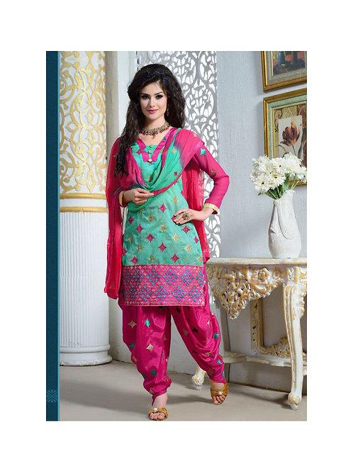 1611AquaBlue and Magenta Party Wear Chanderi Cotton Patiyala Suit