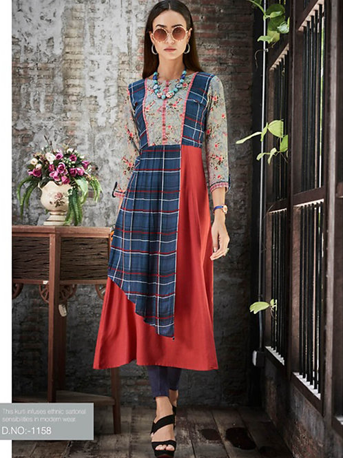 1158 Blue and Red Designer Gown Style Stitched Kurti