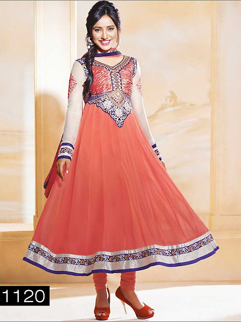 1120 Peach and Ivory Anarkali Suit