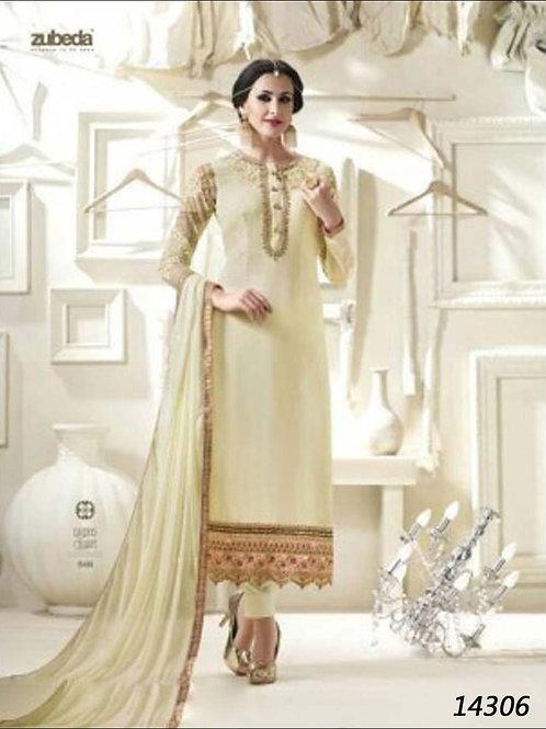 13406 Cream Designer Georgette Straight Suit