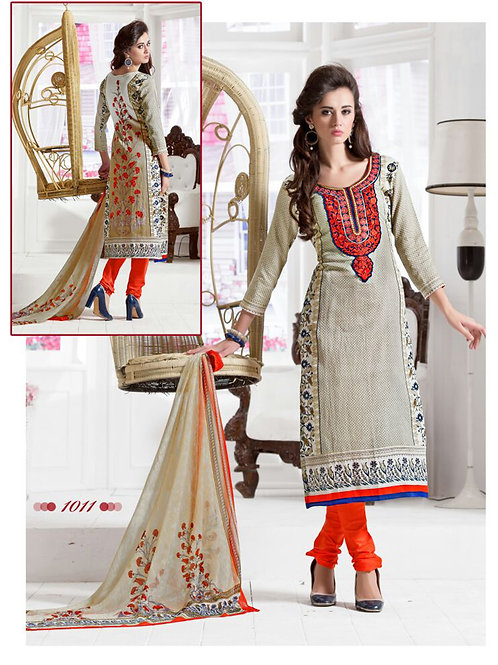 1011Ivory and Orange Daily Wear Satin Cotton Straight Suit