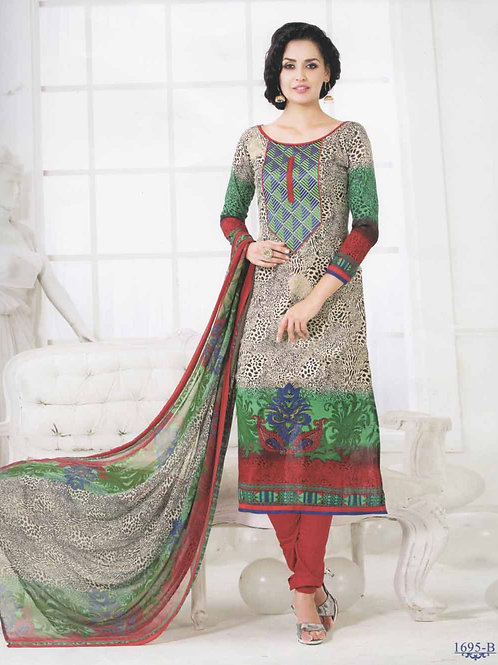 1695B Cream and Green Cotton Straight Suit