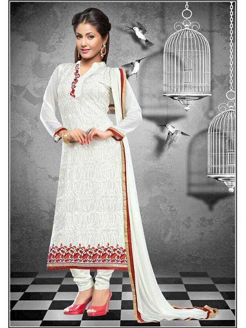 1111White and Red Georgette Straight Suit