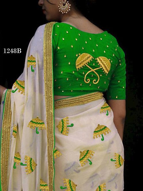 1248B Cream and Green Designer Chanderi Silk Saree