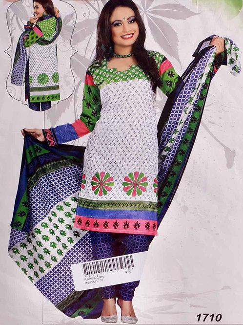 1710 White Printed Salwar Suit