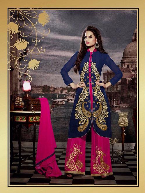 10120 Dark Blue and Deep Pink Faux Georgette Designer Suit