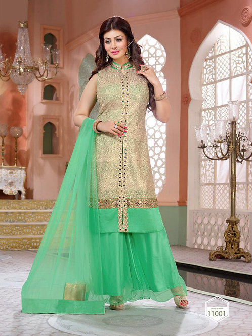 11001Golden and SeaGreen Party Wear Pure Georgette Designer Suit