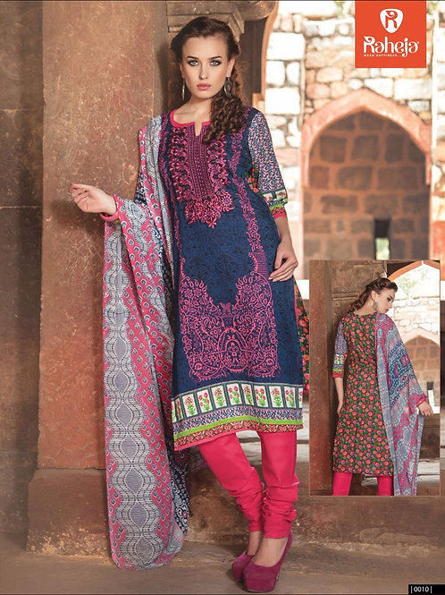 0010Blue and CrimsonRed Printed Cambric with Neck Work Daily Wear Designer Suit