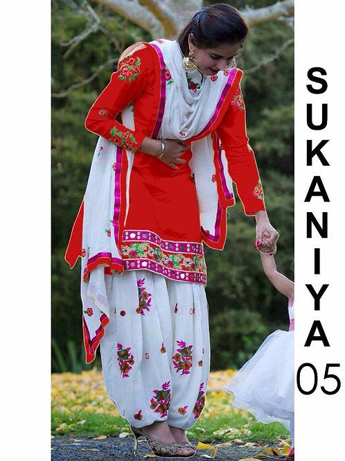 05 Red Designer Patiala Replica Suit