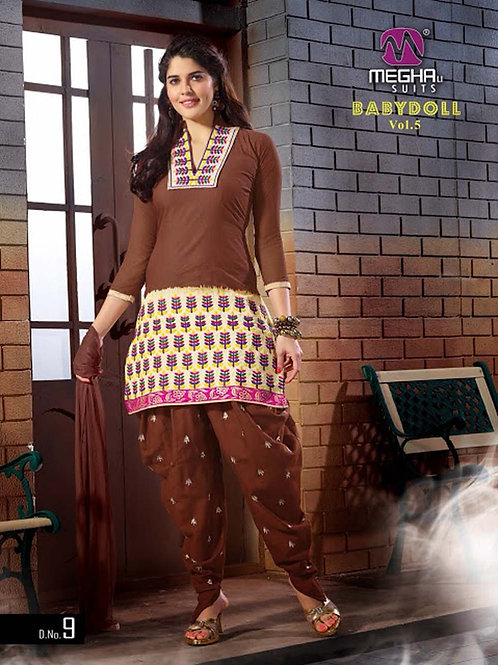 09 Brown and Ivory Embroidered Cotton Patiyala Suit