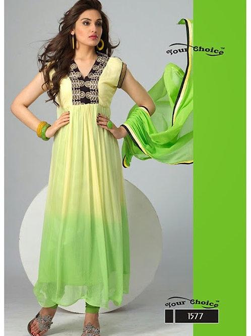 1577 Cream and Light Green Chiffon Anarkali Suit