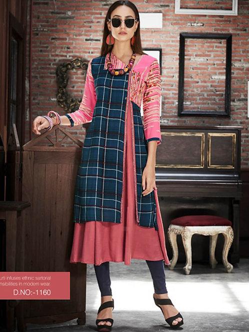 1160 Dark Blue and Pink Designer Gown Style Stitched Kurti