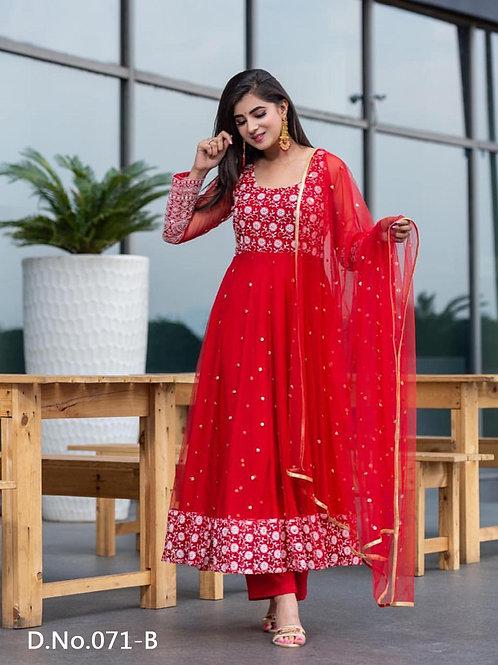 071B Designer Embroidered  Anarkali Gown