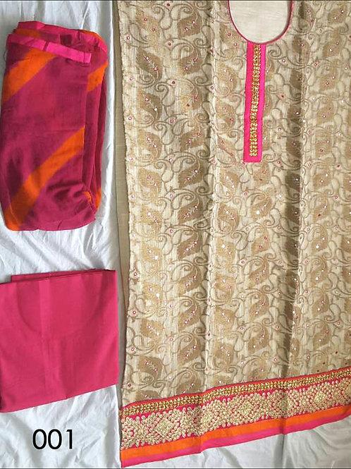 001 Beige and Pink Designer Salwar Suit