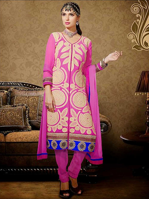1012Pink and Beige Georgette Straight Suit