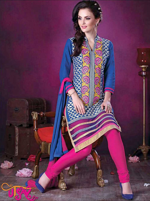 107RoyalBlue and Magenta Daily Wear Embroidered Satin Cotton Designer Suit