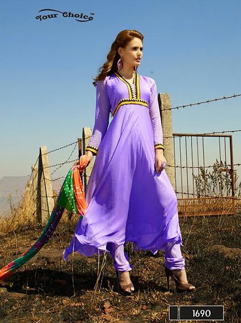 1690 Purple Chiffon Anarkali Suit