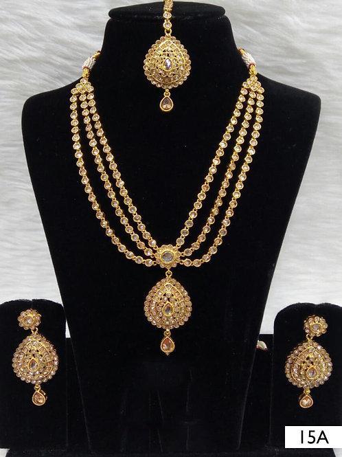 15A White Diamond Work Necklace Set with Maang Tika