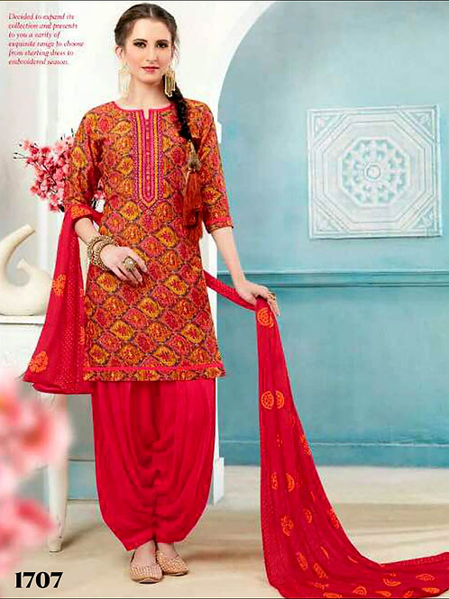 1707 Red and Multicolor Printed Patiala Suit