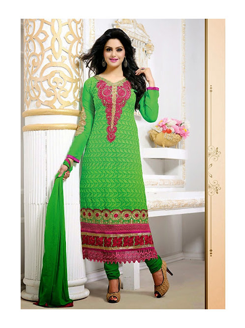 1709LimeGreen and Green Georgette Straight Suit
