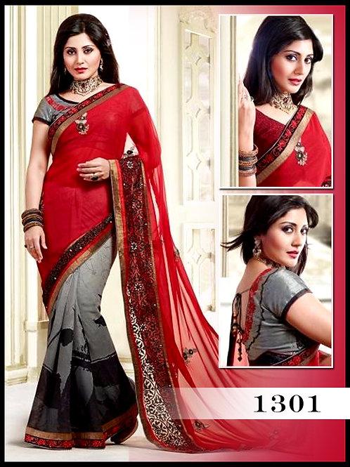 1301Red and Grey Designer Saree
