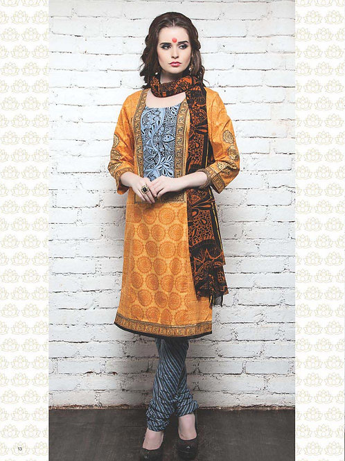 07 Turmeric Yellow Cotton Satin Pakistani Suit