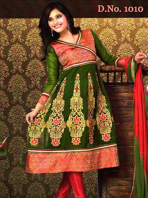 1010 Dark Olive Green and Red Georgette Anarkali Suit