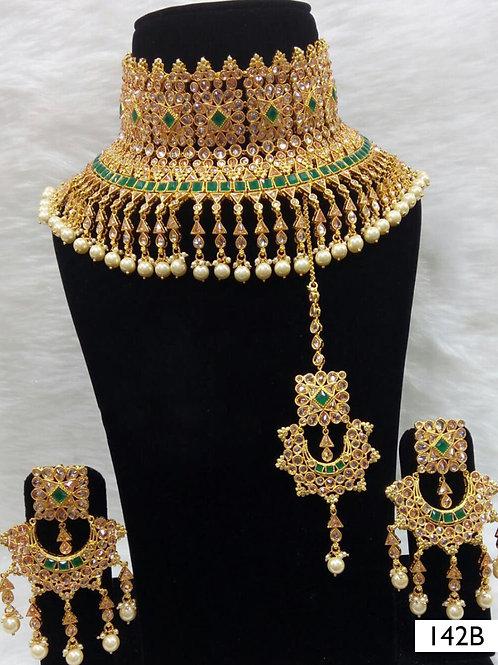 142B Green Bridal Wear Necklace Set With Maang Tika