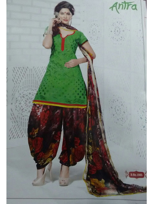 1005Green and Multicolor Daily Wear Brasso Salwar Suit
