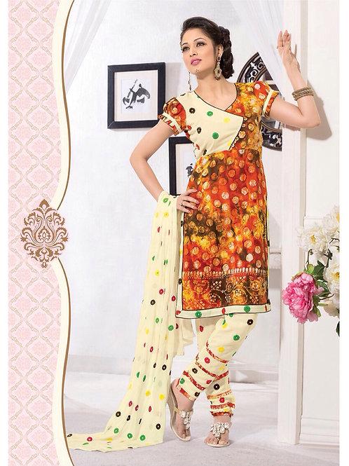 02Orange Yellow and LightYellow Cambric Batik Patiyala Suit