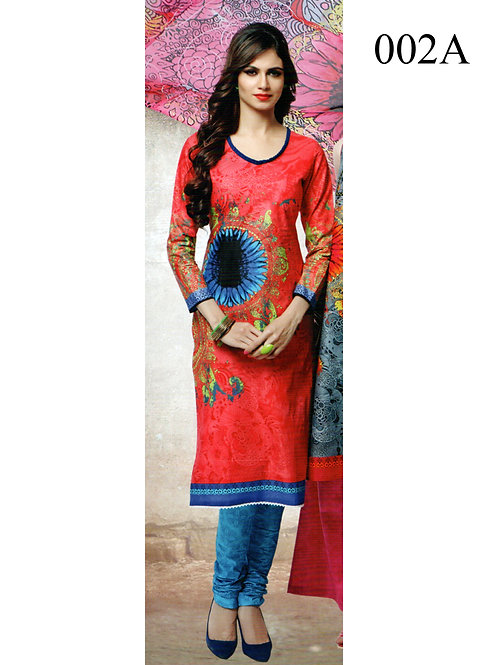 002A CarrotRed and SkyBlue Lawn Cotton Chudidar Suit